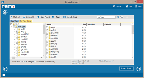 Portable Hard Drive File Recovery | Recovered Data List Window
